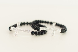 Sideways Cross bracelet with fair-trade beads from India.